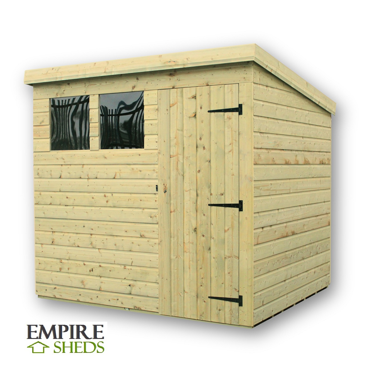 Empire Pent Shed 8X4 Pressure Treated Tongue And Groove 2 Windows